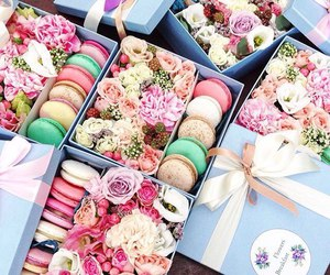 macarons, desserts, and flowers image