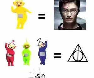 harry potter, teletubbies, and funny image