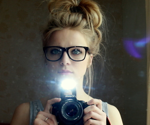 girl, camera, and glasses image