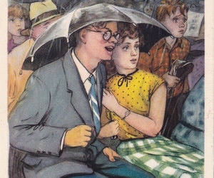 post cards, couple, and umbrella image