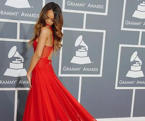 rihanna, dress, and red image