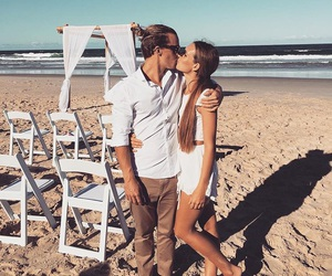 couple, beach, and kiss image