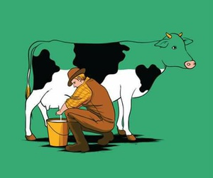 cow, funny, and milk image