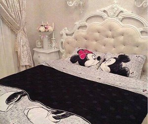 bed, mickey, and minnie image