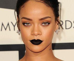 black lipstick, dark hair, and rihanna image