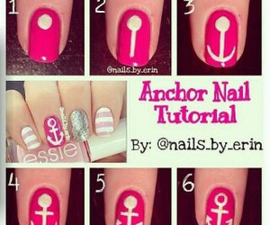 nails, pink, and anchor image