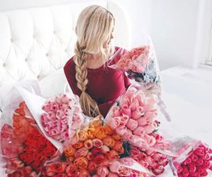 flowers, rose, and girl image