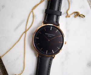 black, watch, and gold image