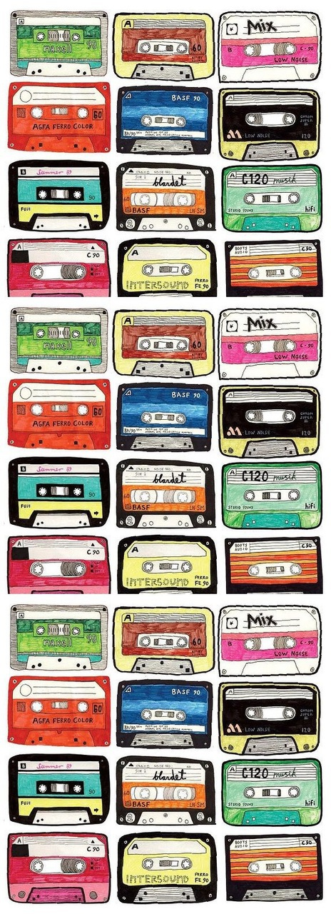 music, cassette, and colors image