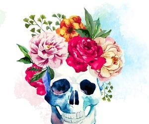 wallpaper, flowers, and skull image