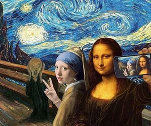 art, selfie, and mona lisa image