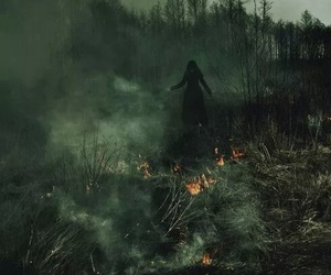 fire, black, and girl image