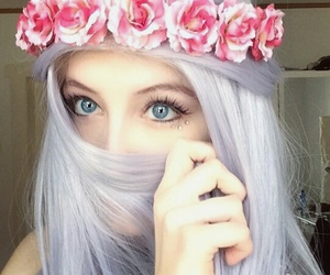 hair, eyes, and flowers image