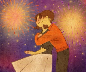 couple, illustration, and love image