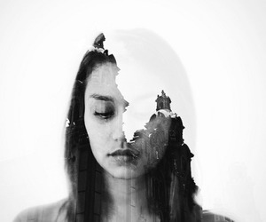 girl, double exposure, and photography image