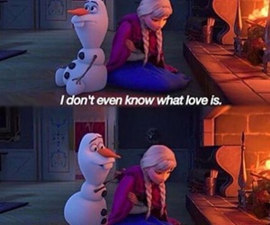 love, frozen, and olaf image