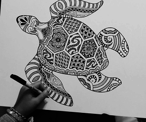art, mandala, and turtle image
