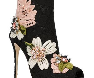 black lace, boots, and Dolce & Gabbana image