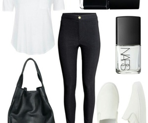 black and white, outfit, and Polyvore image