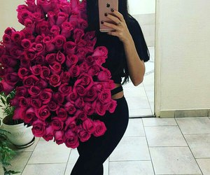 girl, flowers, and love image