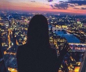 london, night, and view image