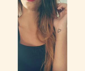 cuore, red lips, and tattoo image