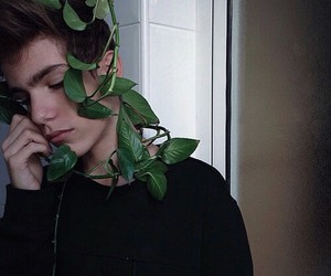boy, plants, and grunge image