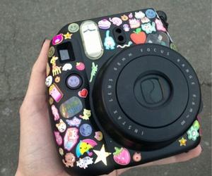 camera, sticker, and black image