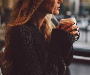 girl, coffee, and hair image