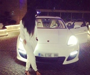 car, girl, and white image