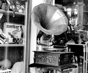 black and white, europe, and gramophone image