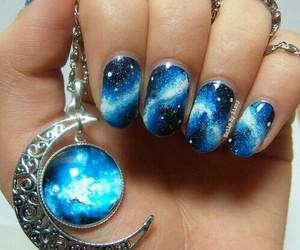 nails, blue, and galaxy image
