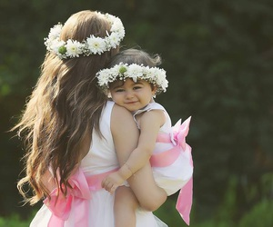 baby, mother, and pink image