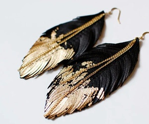earrings, gold, and black image