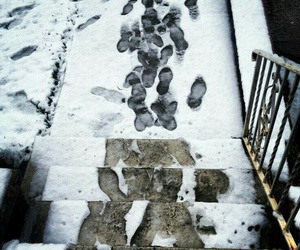 footsteps, snow, and photography image