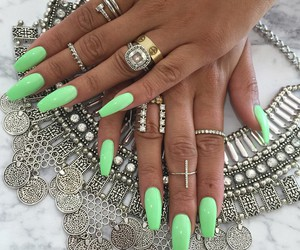 beautiful, green, and nails image