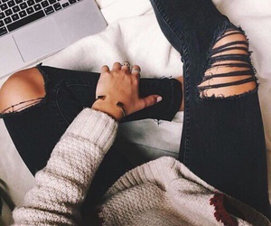 fall, fashion, and ripped jeans image