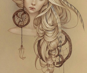 art, drawing, and dream catcher image