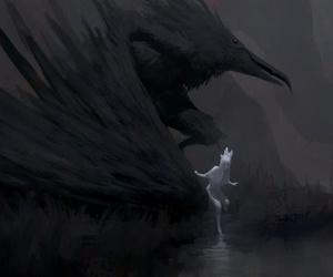art, black and white, and crow image