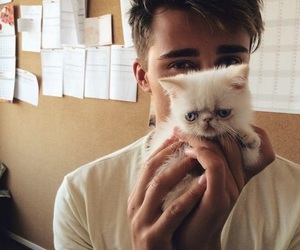boy, cat, and guy image