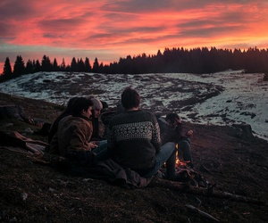 friends, sunset, and nature image