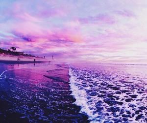 beach, purple, and sea image