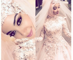 hijab, make up, and pink dress image