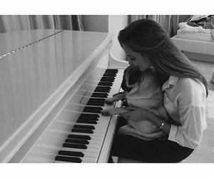 b+w, dog, and piano image