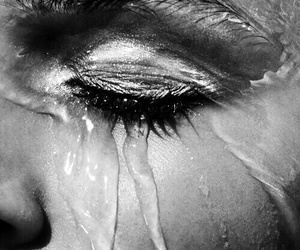 black and white, cry, and makeup image