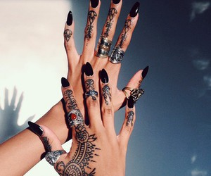 nails, tattoo, and black image