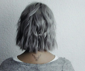 hair, tattoo, and grey image