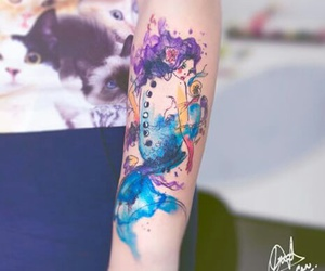 aqua, art, and tattoo art image