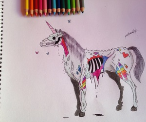 art, drawing, and unicorn image