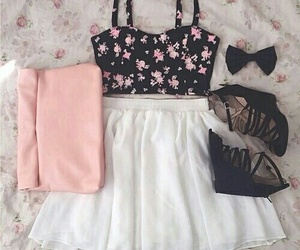 skirt outfit pink black image